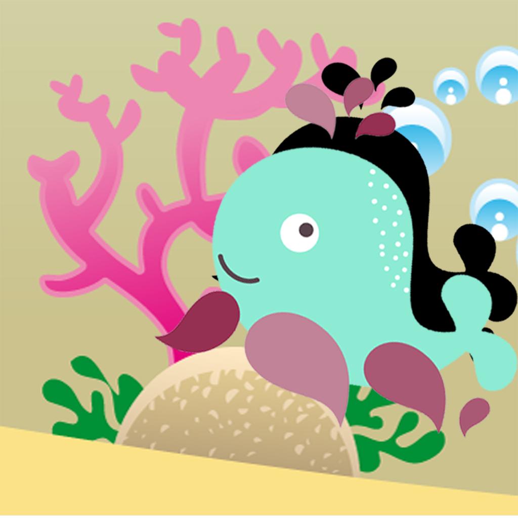 影游戏让孩子们对海洋的动物玩耍和学习的形状
